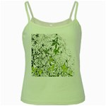 Floral Pattern Background  Green Spaghetti Tank Front