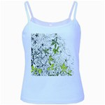 Floral Pattern Background  Baby Blue Spaghetti Tank Front
