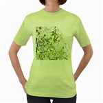Floral Pattern Background  Women s Green T-Shirt Front