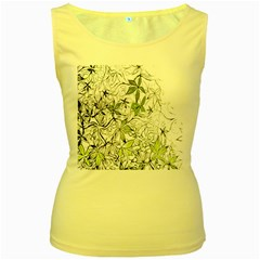 Floral Pattern Background  Women s Yellow Tank Top