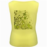 Floral Pattern Background  Women s Yellow Tank Top Back