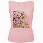 Floral Pattern Background  Women s Pink Tank Top Front