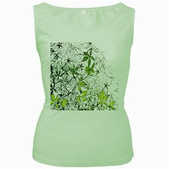 Floral Pattern Background  Women s Green Tank Top