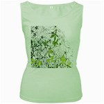 Floral Pattern Background  Women s Green Tank Top Front