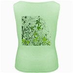 Floral Pattern Background  Women s Green Tank Top Back