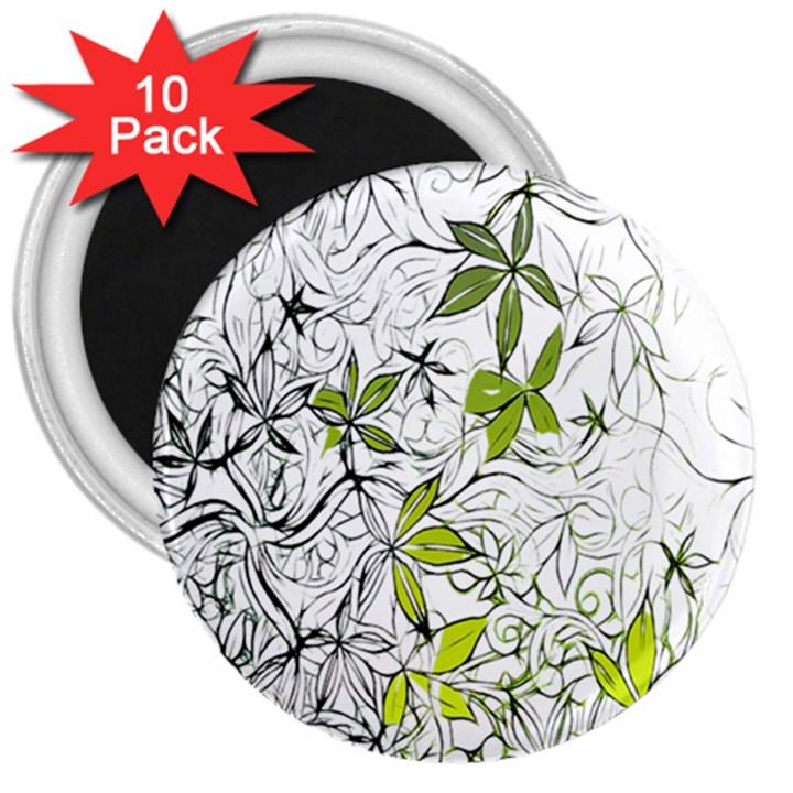 Floral Pattern Background  3  Magnets (10 pack)