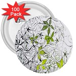 Floral Pattern Background  3  Buttons (100 pack)  Front