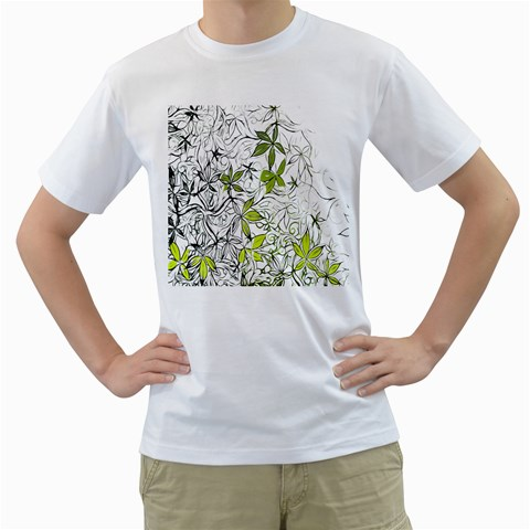 Floral Pattern Background  Men s T-Shirt (White) (Two Sided)