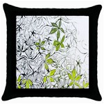 Floral Pattern Background  Throw Pillow Case (Black) Front