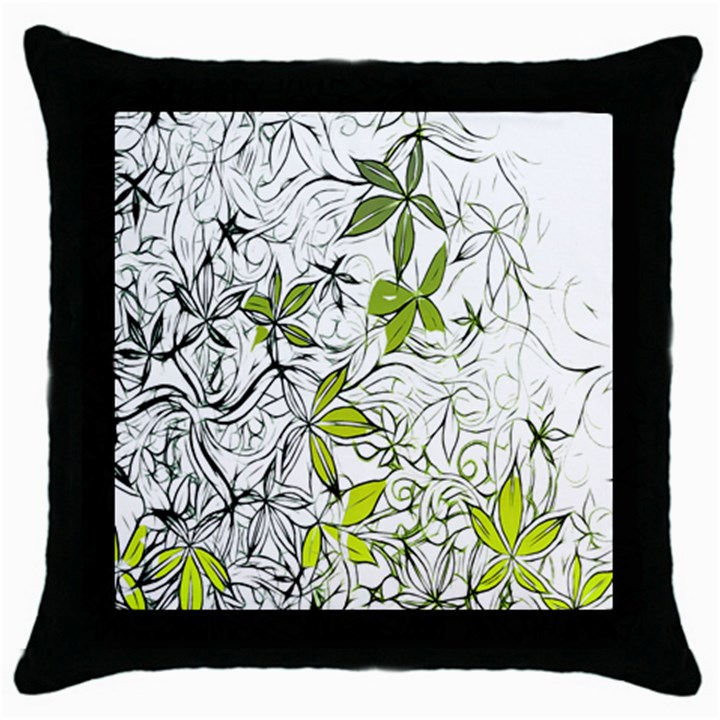 Floral Pattern Background  Throw Pillow Case (Black)