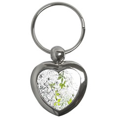 Floral Pattern Background  Key Chains (Heart)