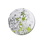 Floral Pattern Background  Rubber Coaster (Round)  Front
