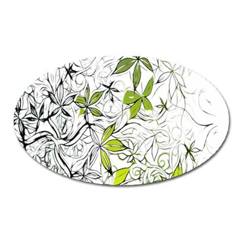 Floral Pattern Background  Oval Magnet