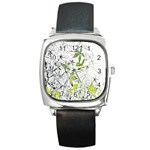 Floral Pattern Background  Square Metal Watch Front