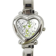 Floral Pattern Background  Heart Italian Charm Watch