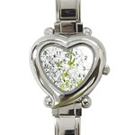 Floral Pattern Background  Heart Italian Charm Watch Front
