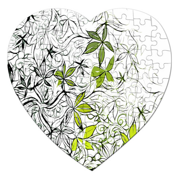 Floral Pattern Background  Jigsaw Puzzle (Heart)