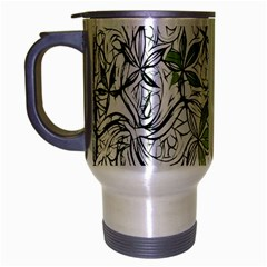 Floral Pattern Background  Travel Mug (Silver Gray)