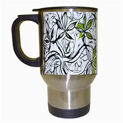 Floral Pattern Background  Travel Mugs (White)