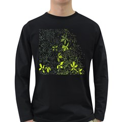 Floral Pattern Background  Long Sleeve Dark T-Shirts