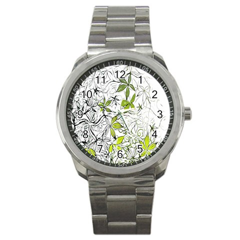 Floral Pattern Background  Sport Metal Watch