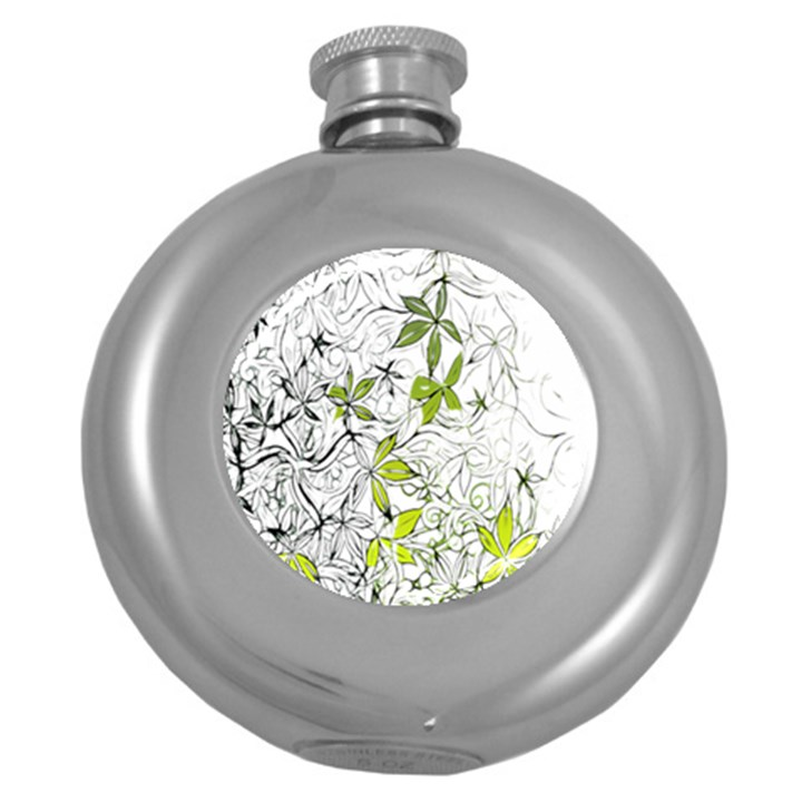 Floral Pattern Background  Round Hip Flask (5 oz)