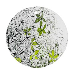Floral Pattern Background  Round Ornament (Two Sides)