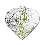 Floral Pattern Background  Dog Tag Heart (One Side) Front