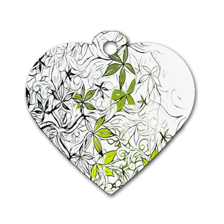 Floral Pattern Background  Dog Tag Heart (One Side)