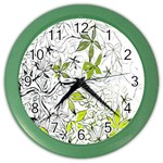 Floral Pattern Background  Color Wall Clocks Front