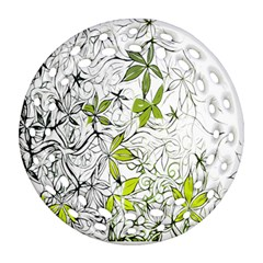 Floral Pattern Background  Round Filigree Ornament (2Side)