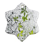 Floral Pattern Background  Snowflake Ornament (2-Side) Back