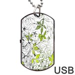 Floral Pattern Background  Dog Tag USB Flash (Two Sides)  Back