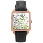 Floral Pattern Background  Rose Gold Leather Watch  Front