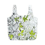 Floral Pattern Background  Full Print Recycle Bags (M)  Back
