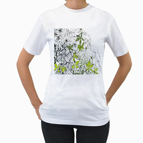 Floral Pattern Background  Women s T-Shirt (White)