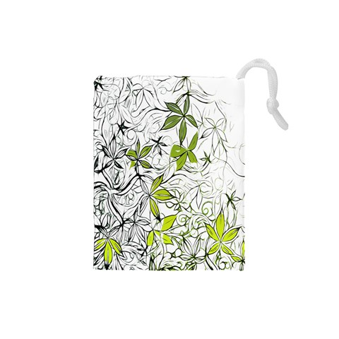 Floral Pattern Background  Drawstring Pouches (Small)