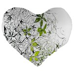Floral Pattern Background  Large 19  Premium Flano Heart Shape Cushions Front