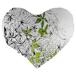 Floral Pattern Background  Large 19  Premium Flano Heart Shape Cushions Back