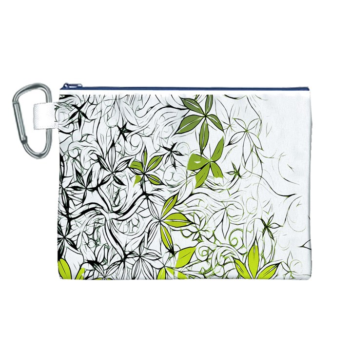 Floral Pattern Background  Canvas Cosmetic Bag (L)
