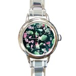 Modern Green And Pink Leaves Round Italian Charm Watch Front