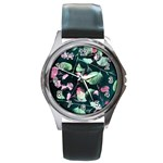 Modern Green And Pink Leaves Round Metal Watch Front