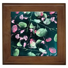 Modern Green And Pink Leaves Framed Tiles