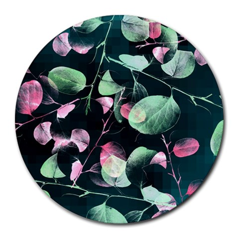 Modern Green And Pink Leaves Round Mousepads
