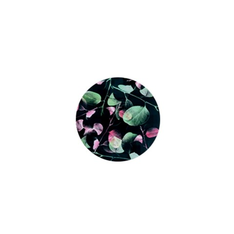 Modern Green And Pink Leaves 1  Mini Buttons