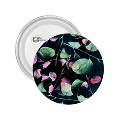 Modern Green And Pink Leaves 2 25  Buttons