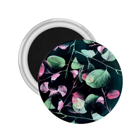 Modern Green And Pink Leaves 2.25  Magnets