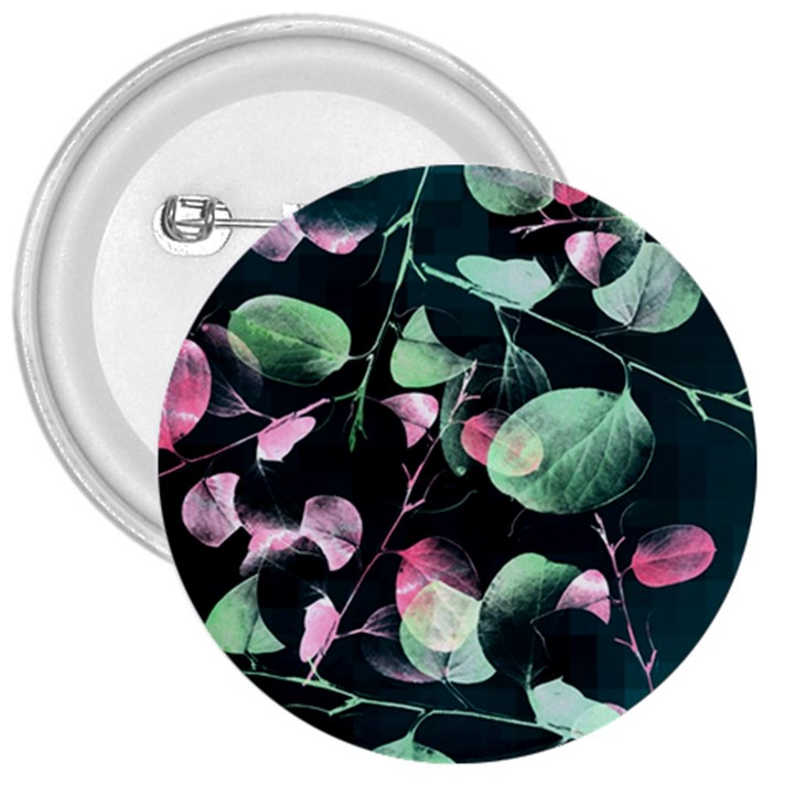 Modern Green And Pink Leaves 3  Buttons