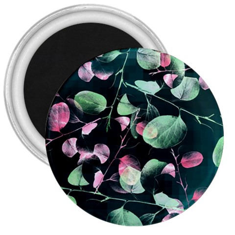 Modern Green And Pink Leaves 3  Magnets