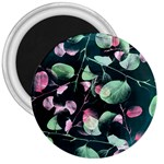 Modern Green And Pink Leaves 3  Magnets Front
